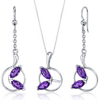 Ornate Circle Design 1.50 carats Sterling Silver Amethyst Pendant Earrings Set Style SS3712