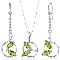 Ornate Circle Design 3.00 carats Sterling Silver Peridot Pendant Earrings Set Style SS3716