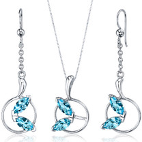 Ornate Circle Design 3.00 carats Sterling Silver Swiss Blue Topaz Pendant Earrings Set Style SS3718