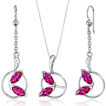 Ornate Circle Design 4.50 carats Sterling Silver Ruby Pendant Earrings Set Style SS3722