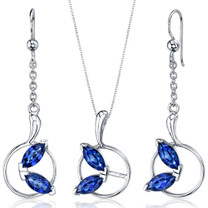 Ornate Circle Design 4.50 carats Sterling Silver Sapphire Pendant Earrings Set Style SS3724