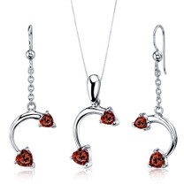 Love Duet 2.25 carats Heart Shape Sterling Silver Garnet Pendant Earrings Set Style SS3728