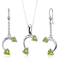 Love Duet 2.25 carats Heart Shape Sterling Silver Peridot Pendant Earrings Set Style SS3730
