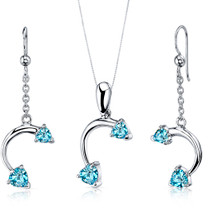 Lovely 2.25 carats Heart Shape Sterling Silver Swiss Blue Topaz Pendant Earrings Set Style SS3732