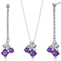 Butterfly Design 2.25 carats Sterling Silver Amethyst Pendant Earrings Set Style SS3740
