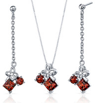 Butterfly Design 3.00 carats Sterling Silver Garnet Pendant Earrings Set Style SS3742