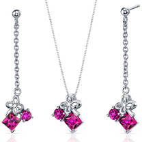 Butterfly Design 3.00 carats Sterling Silver Ruby Pendant Earrings Set Style SS3750