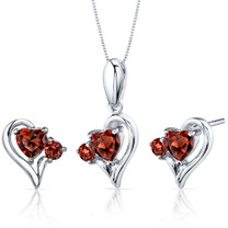 Love and Beauty 2.25 carats Heart Shape Sterling Silver Garnet Pendant Earrings Set Style SS3770