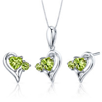 Love and Beauty 2.25 carats Heart Shape Sterling Silver Peridot Pendant Earrings Set Style SS3772
