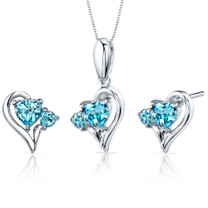 2.25 carats Heart Shape Sterling Silver Swiss Blue Topaz Pendant Earrings Set Style SS3774