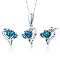 2.25 carats Heart Shape Sterling Silver London Blue Topaz Pendant Earrings Set Style SS3776
