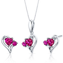 Love and Beauty 2.25 carats Heart Shape Sterling Silver Ruby Pendant Earrings Set Style SS3778
