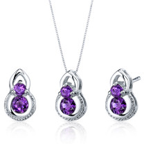 Dainty 2 Stone 1.50 carats Round Cut Sterling Silver Amethyst Pendant Earrings Set Style SS3782