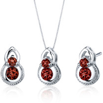 Dainty 2 Stone 1.50 carats Round Cut Sterling Silver Garnet Pendant Earrings Set Style SS3784