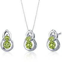 Dainty 2 Stone 1.50 carats Round Cut Sterling Silver Peridot Pendant Earrings Set Style SS3786