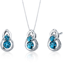 Dainty 1.50 carats Round Cut Sterling Silver London Blue Topaz Pendant Earrings Set Style SS3790