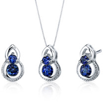 Dainty 2 Stone 1.50 carats Round Cut Sterling Silver Sapphire Pendant Earrings Set Style SS3794