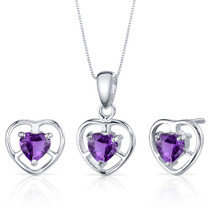 Heart Solitaire Design 1.50 carats Sterling Silver Amethyst Pendant Earrings Set Style SS3810