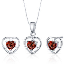 Heart Solitaire Design 1.50 carats Sterling Silver Garnet Pendant Earrings Set Style SS3812