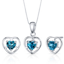 Heart Solitaire Design 1.50 carats Sterling Silver London Blue Topaz Pendant Earrings Set Style SS3818