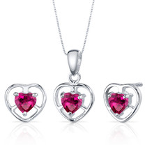 Heart Solitaire Design 1.50 carats Sterling Silver Ruby Pendant Earrings Set Style SS3820