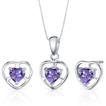 Heart Solitaire Design 1.50 carats Sterling Silver Sapphire Pendant Earrings Set Style SS3822