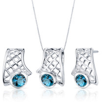 Exotic Design 1.50 carats Round Cut Sterling Silver London Blue Topaz Pendant Earrings Set Style SS3832