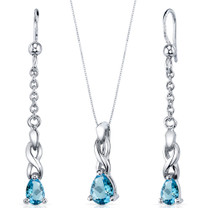 Enchanting 1.75 carats Pear Shape Sterling Silver Swiss Blue Topaz Pendant Earrings Set Style SS3844