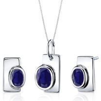 Art Deco Bezel Set 2.00 carats Sterling Silver Sapphire Pendant Earrings Set Style SS3864
