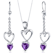 Alluring Love 1.75 carats Heart Shape Sterling Silver Amethyst Pendant Earrings Set Style SS3866