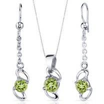 Elegantly Simple 1.75 carats Round Cut Sterling Silver Peridot Pendant Earrings Set Style SS3884