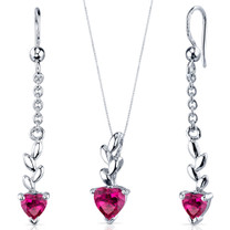 Dangling 2.00 carats Heart Shape Sterling Silver Ruby Pendant Earrings Set Style SS3904