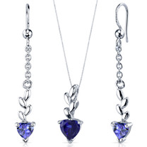 Dangling 2.00 carats Heart Shape Sterling Silver Sapphire Pendant Earrings Set Style SS3906