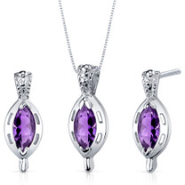 Simply Stunning 1.50 carats Marquise Cut Sterling Silver Amethyst Pendant Earrings Set Style SS3908