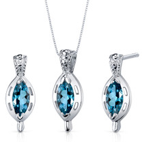 Simply Stunning 1.50 carats Marquise Cut Sterling Silver London Blue Topaz Pendant Earrings Set Style SS3916