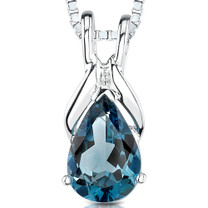 1.50 Cts Pear Shape London Blue Topaz Pendant Style SP1860
