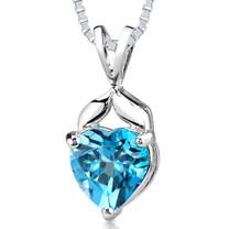 3.00 Cts Heart Shape Swiss Blue Topaz Pendant Style SP1954
