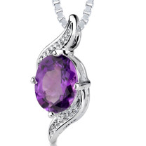 1.00 Cts Oval Shape Amethyst Pendant Style SP2080