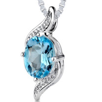 1.50 Cts Oval Cut Swiss Blue Topaz Pendant Style SP2088