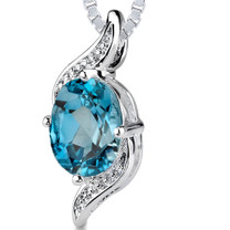 1.50 Cts Oval Cut London Blue Topaz Pendant Style SP2090
