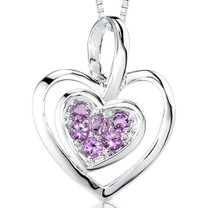 0.25Ct Round Cut Amethyst Heart Pendant Style SP3236