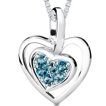 0.50Ct Round Cut London Blue Topaz Heart Pendant Style SP3244