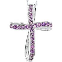 1.25Ct Round Cut Amethyst Cross Pendant Style SP3272