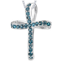 1.75Ct Round Cut London Blue Topaz Cross Pendant Style SP3280