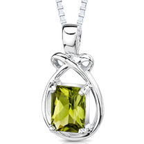 1.50 Carats Genuine Emerald Cut Peridot Sterling Silver Pendant Style SP7836