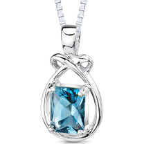 1.75 Carats Genuine Emerald Cut London Blue Topaz Sterling Silver Pendant Style SP7840