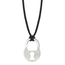 Surgical Stainless Steel Brushed Finish Unisex Padlock Pendant on a Black Cord Style SN7982
