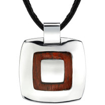 High-Polish Stainless Steel and Redwood Finish Pendant on a Black Cord Style SN8006