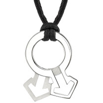 High Polished and Satin Finish Stainless Steel Male Mars Symbol Pendant on a Black Cord Style SN8010