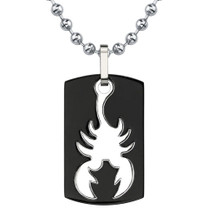 Dog Tag Gunmetal finish Titanium Pendant with Scorpion Design on a Steel Ball Chain Style SN8036